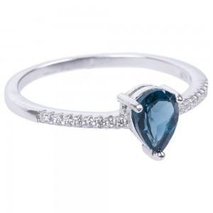 Pierścionek z London Blue Topaz i Cyrkoniami